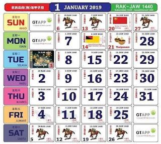 KalendarJanuari 2019