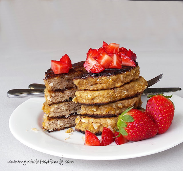 Coconut flour pancakes - free from grains, dairy and refined sugar - from www.mywholefoodfamily.com