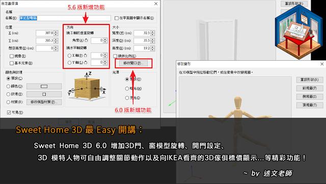 Sweet Home 3D 6.0 增加3D門、窗模型旋轉、開門設定、3D 模特人物可自由調整關節動作以及向IKEA看齊的3D傢俱標價顯示…等精彩功能!