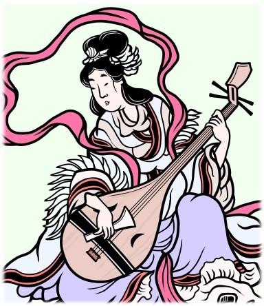 琵琶を演奏する弁財天