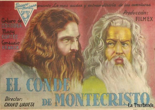 El Conde de Montecristo - Folleto de mano - Arturo de Cordoba - Mapy Cortés - René Cardona