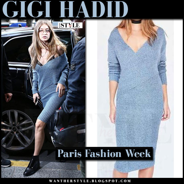 Gigi Hadid in blue ribbed knit dress c/meo collective what she wore paris fashion week