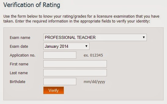 Verification of Ratings January 2014 LET