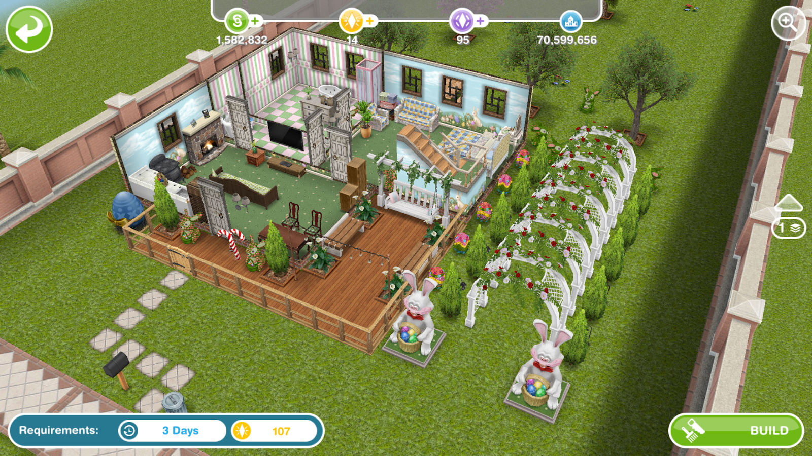 Wonderful image of Sims Freeplay Architect Homes Easter Edition ~ Greenoid Gemzicle with #267590 color and 1600x900 pixels