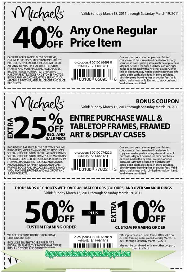 Free Promo Codes And Coupons 2018 Michaels Coupons