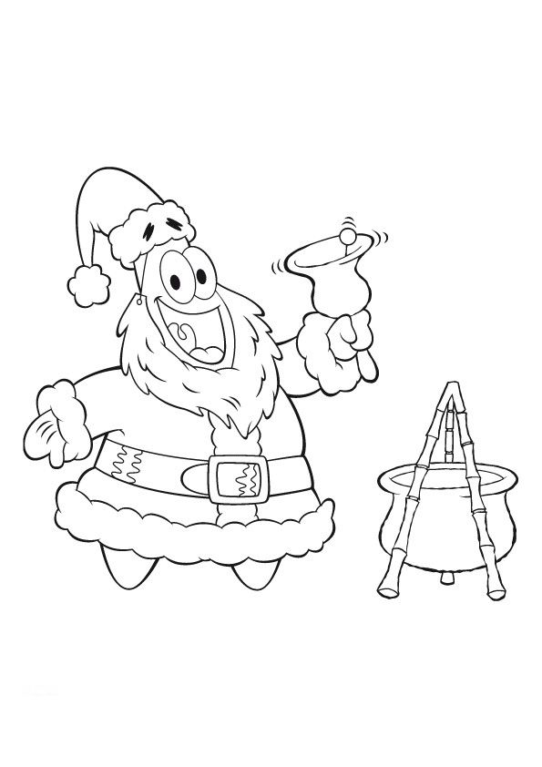 all spongebob characters coloring pages | Spongebob and Patrick Christmas Coloring Pages