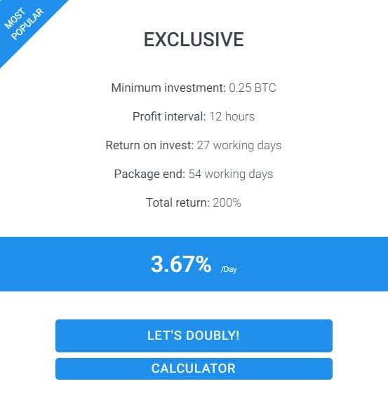Инвестиционные планы Doubly 2