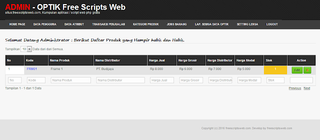 Script PHP Point Of Sale Aplikasi Penjualan Optik