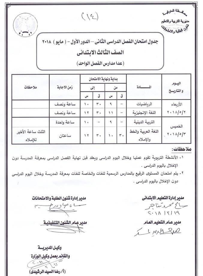 جدول امتحانات الصف الثالث الابتدائي 2018 الترم الثاني محافظة المنوفية
