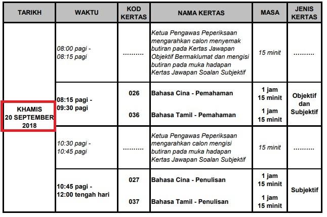 jadual upsr 20 sept 2018