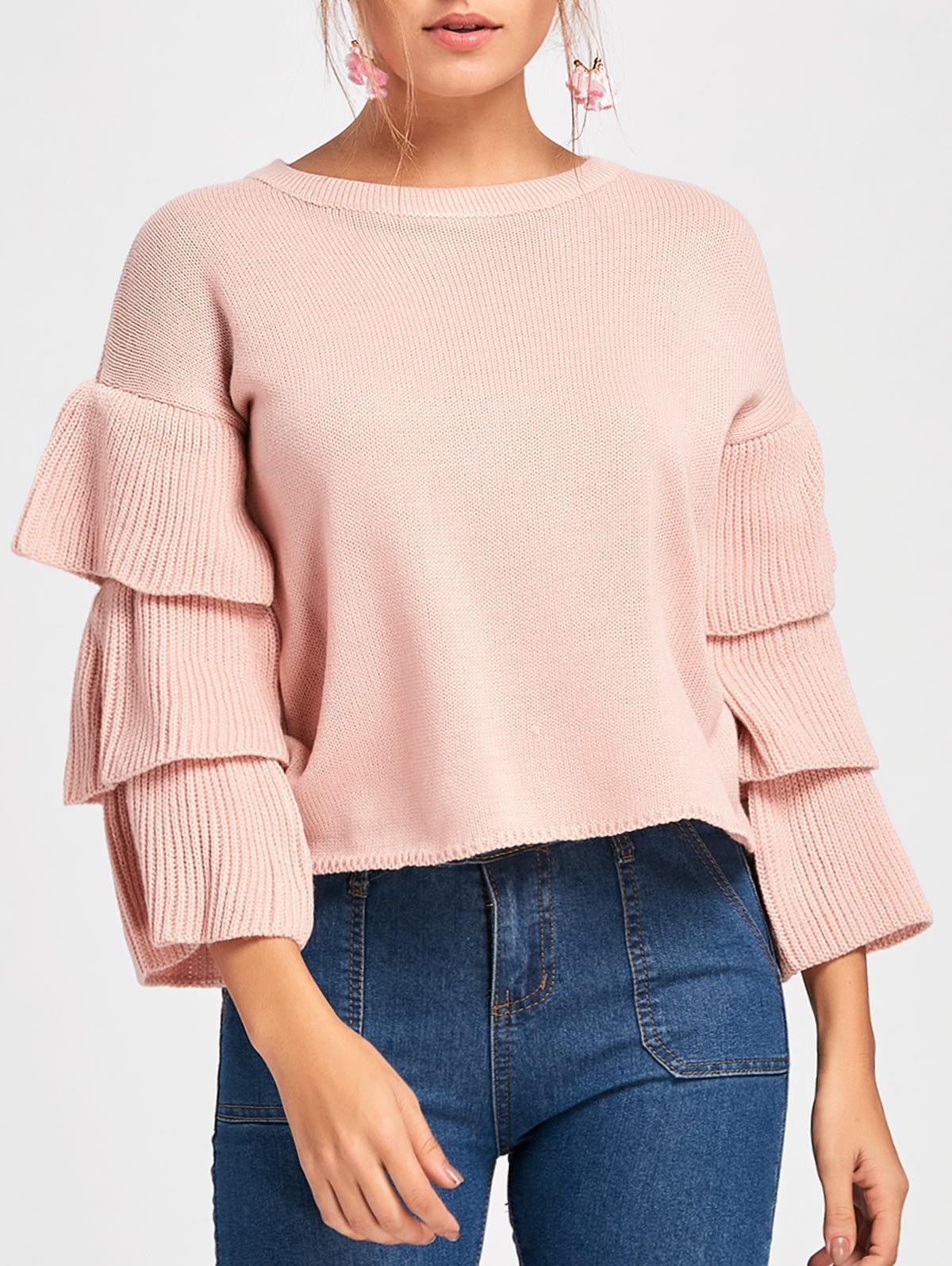Ruffle Flare Sleeve Crew Neck Sweater