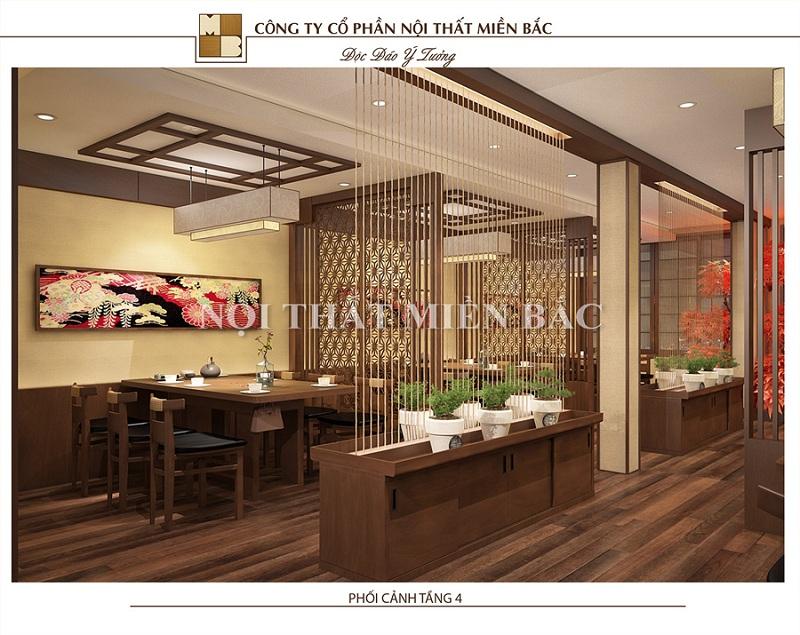 Thiết kế nội thất nhà hàng Nhật với khu chế biến ẩm thực độc đáo
