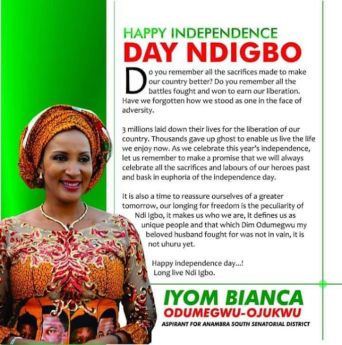 Iyom Bianca Odumegwu Ojukwu Celebrates Nigeria @58