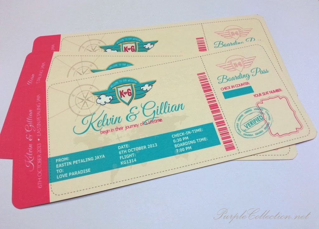 boarding pass, wedding card, modern, colourful, unique, marriage, red, chinese, malay, kad kahwin, malaysia, kuala lumpur, eastin hotel, petaling jaya, selangor, printing, online order