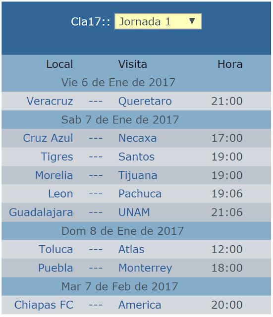 Calendario de la jornada 1 del clausura 2017 del futbol mexicano