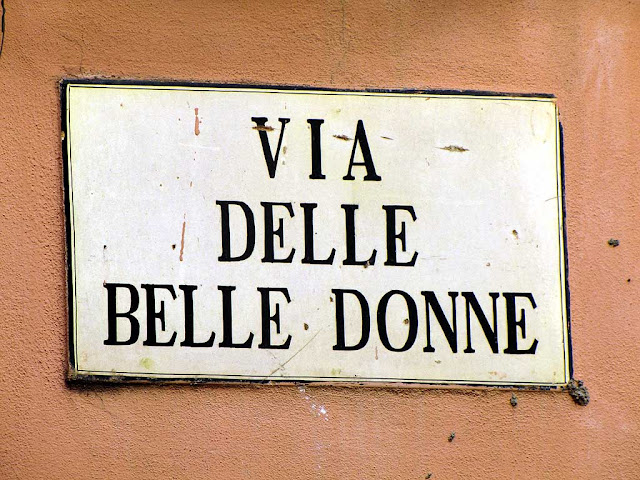 "Via delle Belle Donne"" (Street of the Beautiful Women) plaque, Pisa"