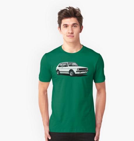 Redbubble Golf GTI Mk1 t-shirts white hot hatch