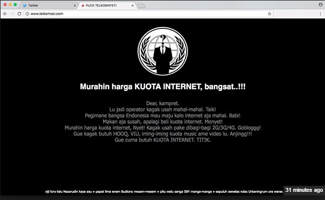web telkomsel di deface hacker