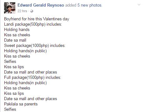 This Guy Offers Himself as a 'Boyfriend for Hire' on Valentine's Day! Are You Willing To Pay For His Services?