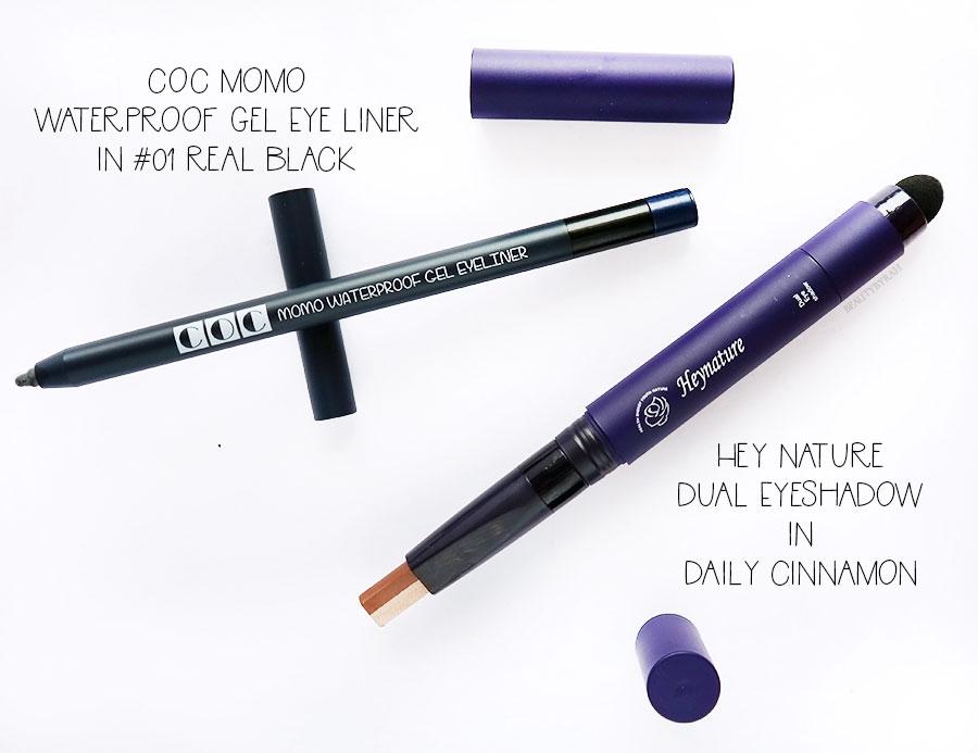 COC Momo Waterproof Gel Eyeliner and Hey Nature Dual Shadow Stick review