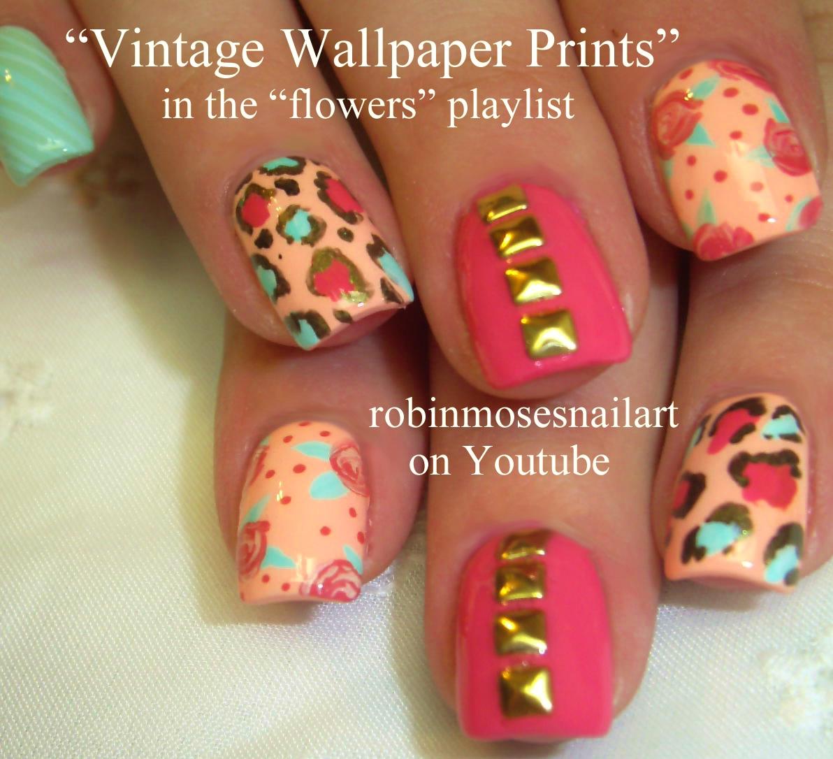 Nail Art By Robin Moses Vintage Wallpaper Print Nails Wallpaper