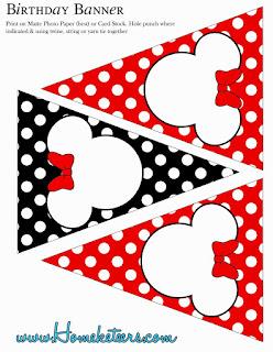 Banderines de Minnie en Rojo , Negro y Lunares para imprimir gratis.