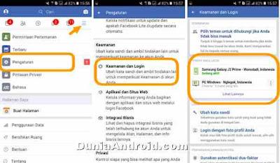 Pengaturan keamanan login FB