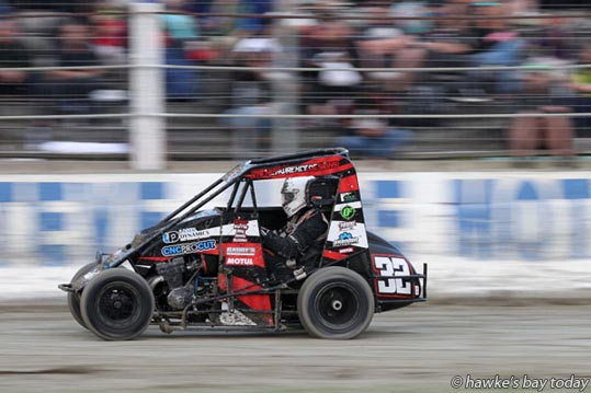 Kris Gillies, 32B, Hawke's Bay, driving his three quarter midget, New Zealand TQ Championship at Meeanee Speedway, Meeanee, Napier.  photograph