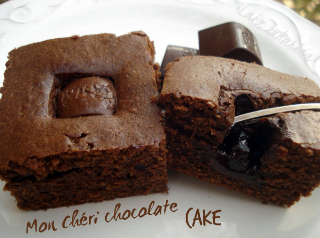 Mon Chéri chocolate cake by Laka kuharica: easy, brownie-like cake studded with sour cherry chocolate pralines.