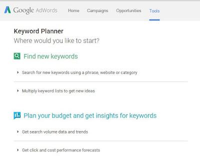 cara mendapatkan keyword untuk blog dengan google keyword planner