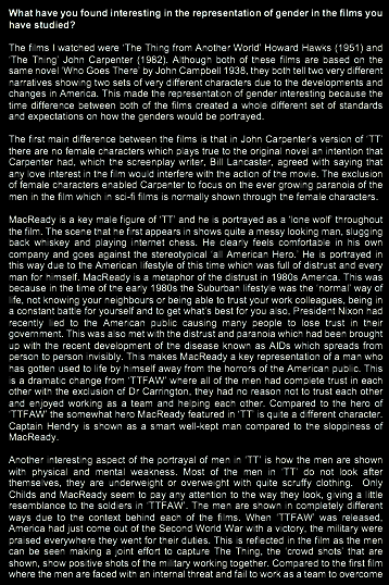representation of sex and gender in the film goldfinger essay Men and women writing women: the female perspective and representation of women in four sex therefore, these gender differences will be reflected in their.