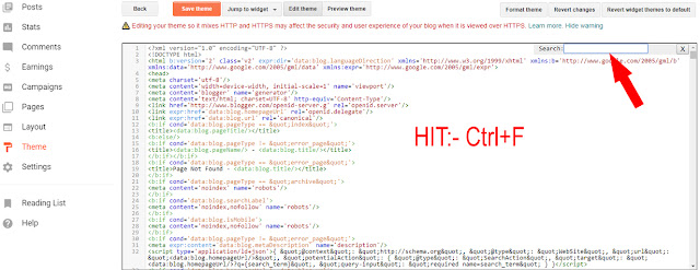 editing html of blogger