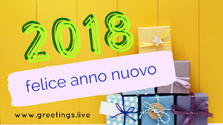 "Yellow colour BG with gifts Italian Happy New Year greetings "" felice anno nuovo """