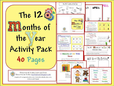 Number Names Worksheets months of the year activities for kindergarten : Learn and Grow Designs Website: Ideas for Teaching the Months of ...