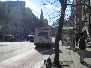 A Bus Travels Along 2nd Ave. Just Like In Daft Punk's Da Funk Video.