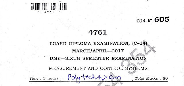 SBTET AP MEASUREMENT AND CONTROL SYSTEMS OLD QUESTION PAPERS C-14 DME