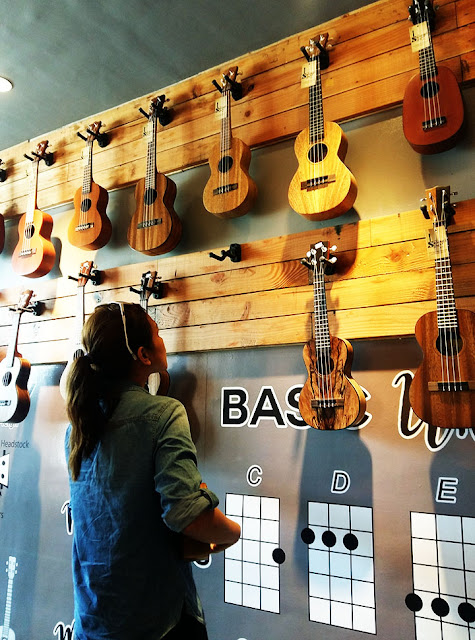 Ukuleles on display at UkeHUB Kafe in Mactan Island Lapulapu City Cebu Philippines