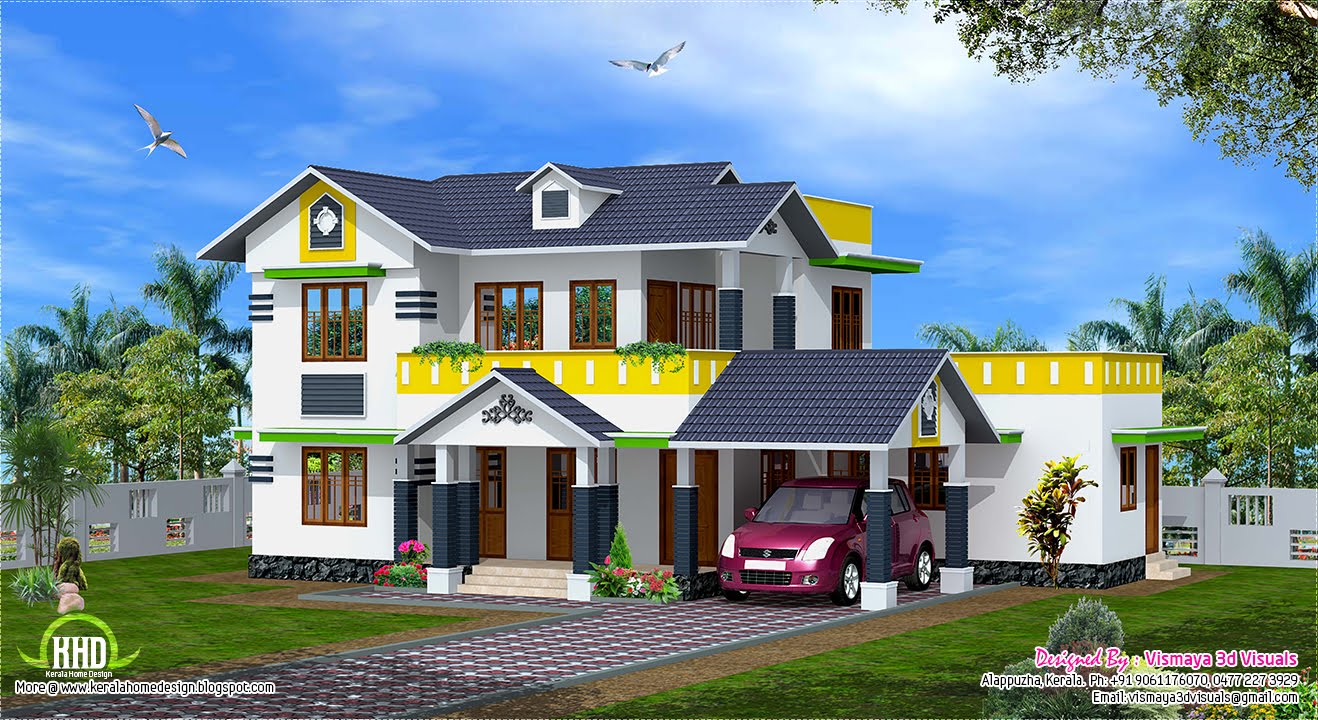 Kerala Model Home Plans: 1900 Sq.feet Kerala Model Sloping Roof House