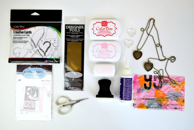 DIY Izink Monoprint Pendant Tutorial Supplies