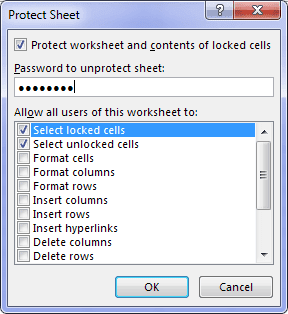 Protect Sheet Excel Options