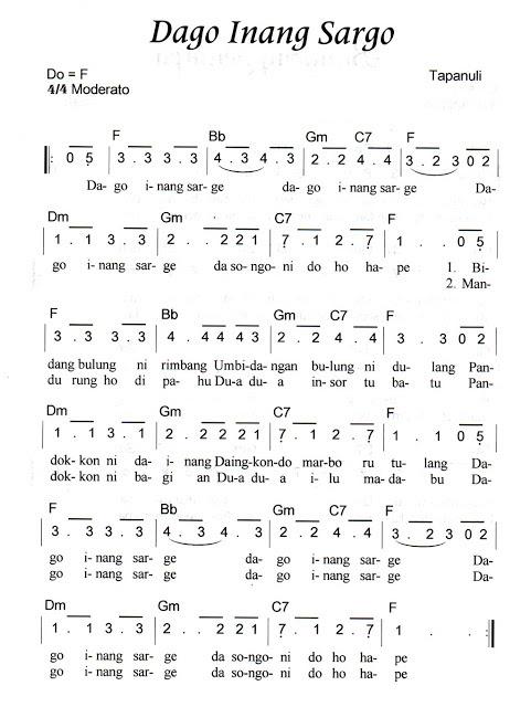 Not Angka Pianika Lagu Dago Inang Sarge (Tapanuli)