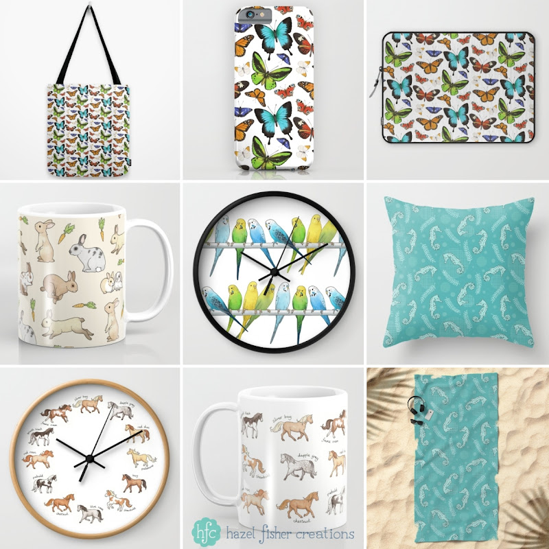 Society6 surface designs - mugs, clocks, cushions, butterfly, rabbits, horses and seahorses by Hazel Fisher Creations