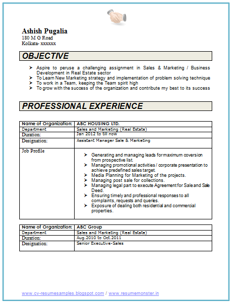 10 years experience resume format