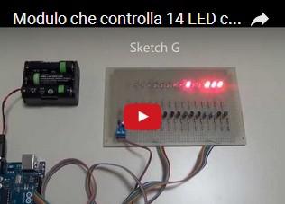 Modulo che controlla 14 LED con Arduino UNO R3 - Versione 2