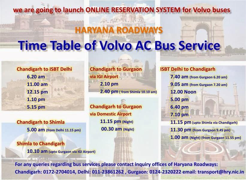 Bus Timings And Bus Schedule Haryana Roadways Online