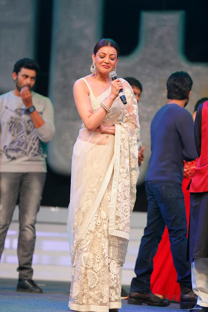 Kajal Aggarwal in Sabyasachi Saree at Khaidi No.150 Pre-Release Event