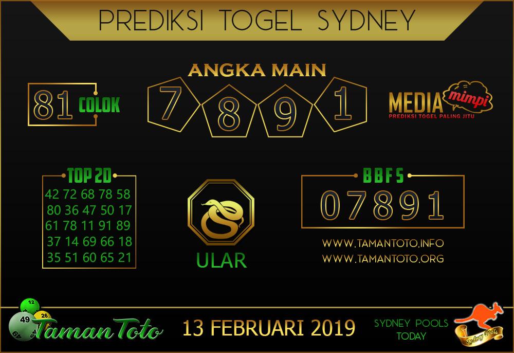 Prediksi Togel SYDNEY TAMAN TOTO 13 FEBRUARI 2019