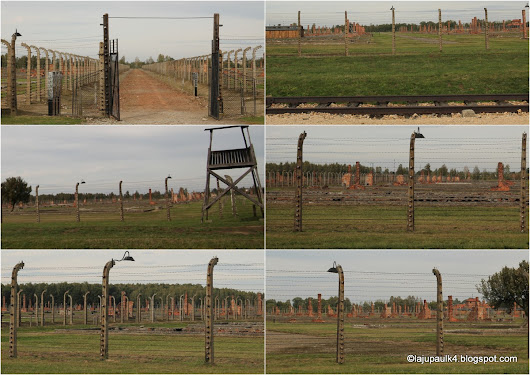 Ruins of the massive men's camps (behind the barbed wires) in Auschwitz II (Birkenau)