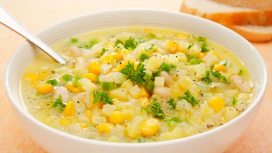 Membuat sendiri Sup Jagung Lezat