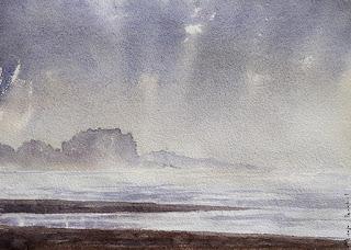 A water color painting of a morning scene at Murud Janjira, Maharashtra